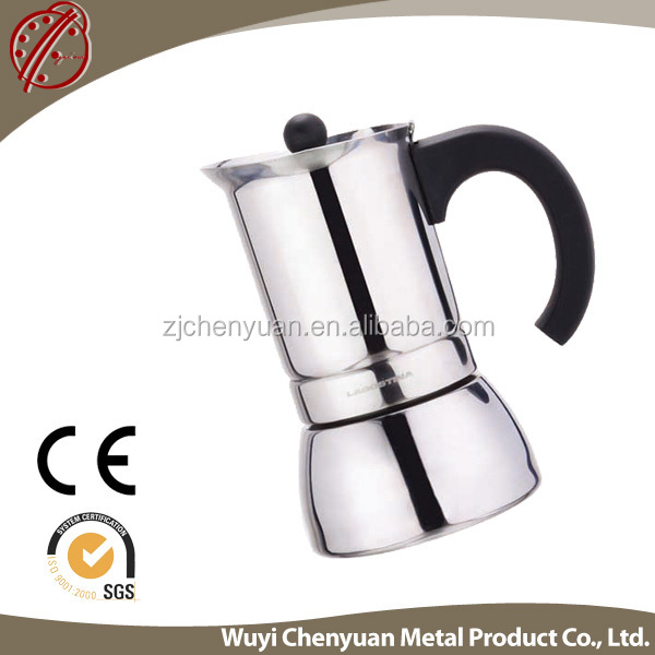 Bialetti supplier 6 cup LFGB/SGS certified stainless steel moka pot ,Customized giftbox