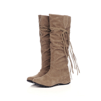 Custom Women Fashion Winter Cheap Snow Working Suede Flat Heel Mid-Calf Boots Shoes