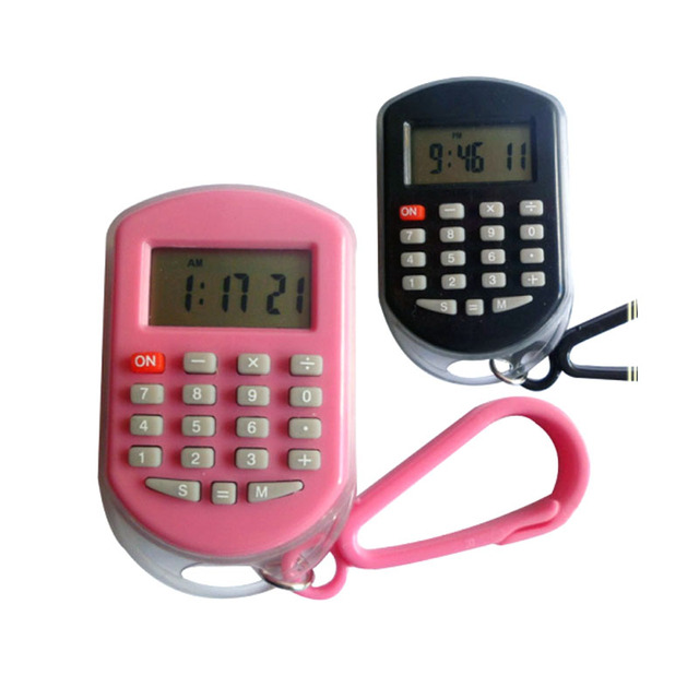 promotional 8 digit mini keychain calculator with clock and alarm