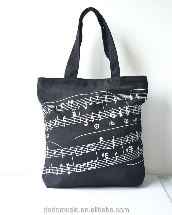 China factory music note 600d polyester canvas tote bag