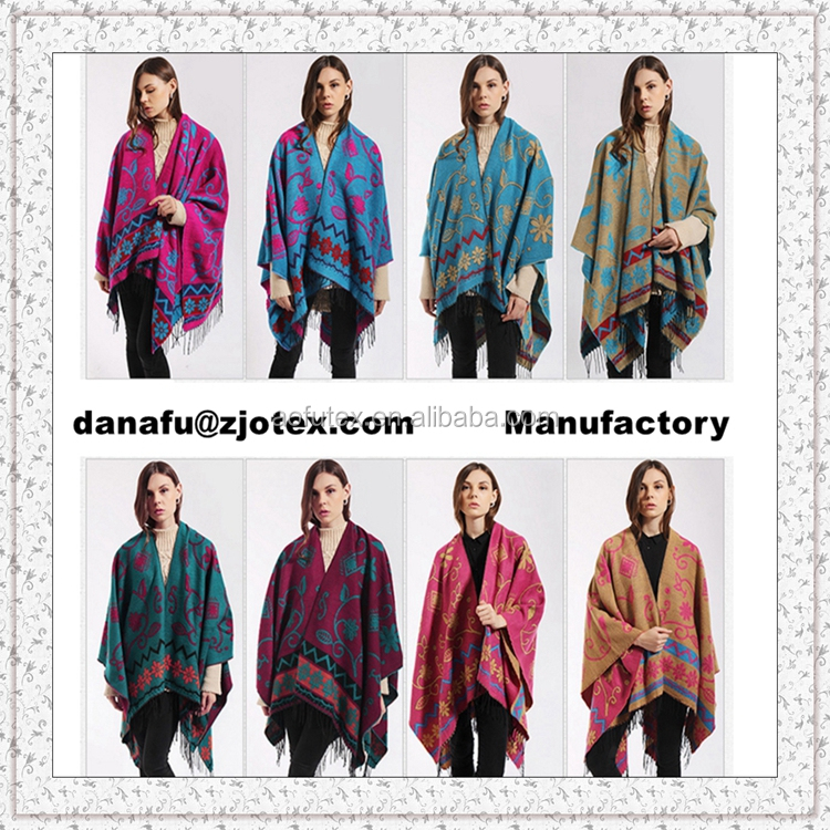 AOFU Custom Sublimation printed promotional warm No sleeve cap Polar fleece lady shawl,poncho with tassel