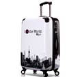 Black and white abs Travel cabin luggage with wrap angle