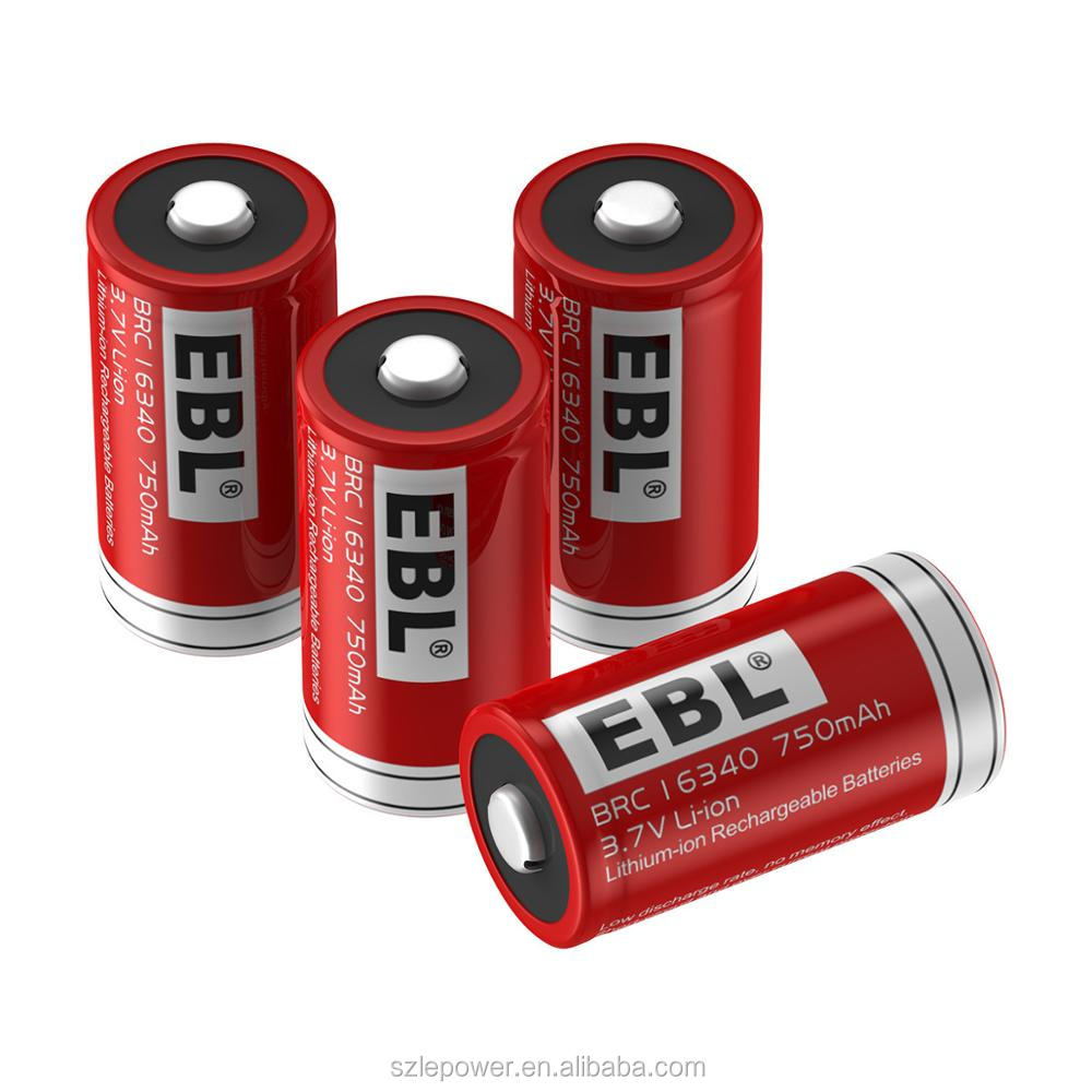 EBL 4 Pack 3.7V 750mAh 16340 Battery Rechargeable Li-ion battery 1200 times charge cycle