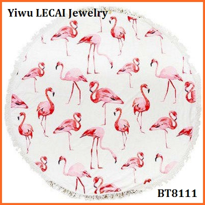 2017 new Fashion Large Flamingo Print Round Fringed Beach Towel