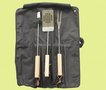 custom OEM design factory supply 3pcs barbecue set wooden handle outdoor bbq set bbq utensils
