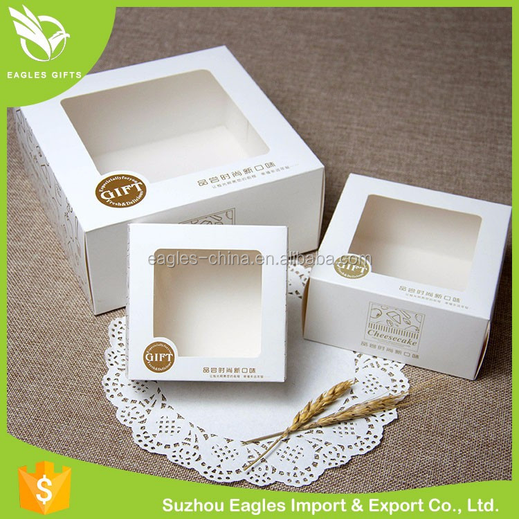 2016 New Packaging Gift Paper Custom Made Christmas Paper Cupcake Box With Window Lid