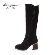 New arrival nubuck pu women Chunk high heel knee high boots rivets Footwear High Heels Wholesale Safety Boots