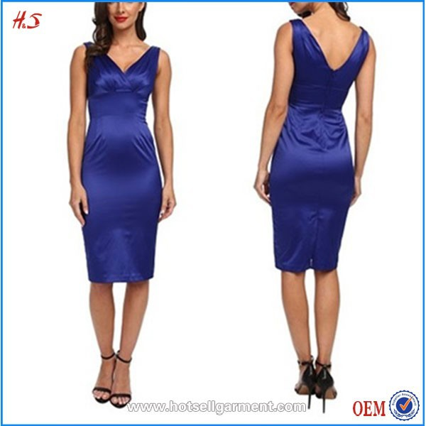 Hot Sale Popular Sexy Images Of Girls Without Clothes V Neck Satin Casual Midi Net Bodycon Dresses