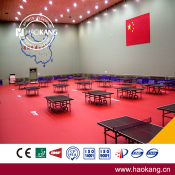 High Quality Red PVC Vinyl Sports Flooring for Table Tennis Court with CE Certificate