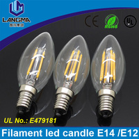 Langma Professional manufacture cheap 2w 4w UL approved torpedo shape C35 filment e12 candelabra led bulb clear glass