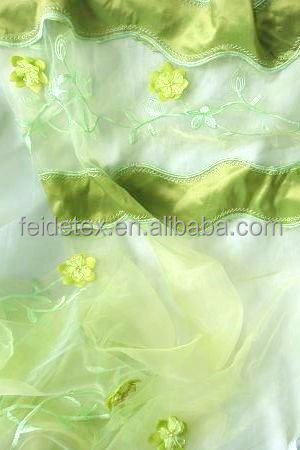 Latest Sheer Organza Plain Embroidery Window Curtains Design for kid bedroom