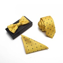 Custom Mens Wedding Pocket Piazza Sciarpa di seta Tie 6 cm Cravatta di Seta 3 Pezzi In Scatola Regalo Set