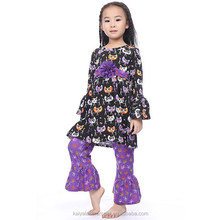 Halloween fashion design!black cat ruffle top and purple floral pant ruffle outfits for kids