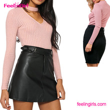 Wholesale Sexy Tight Silhouette Pink Long Sleeve Romper Jumpsuits