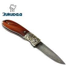 Damascus steel small folding pocket knife