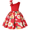 wholesale kid girls party dresses Slanted shoulder design formal baby dress flower girl dresses