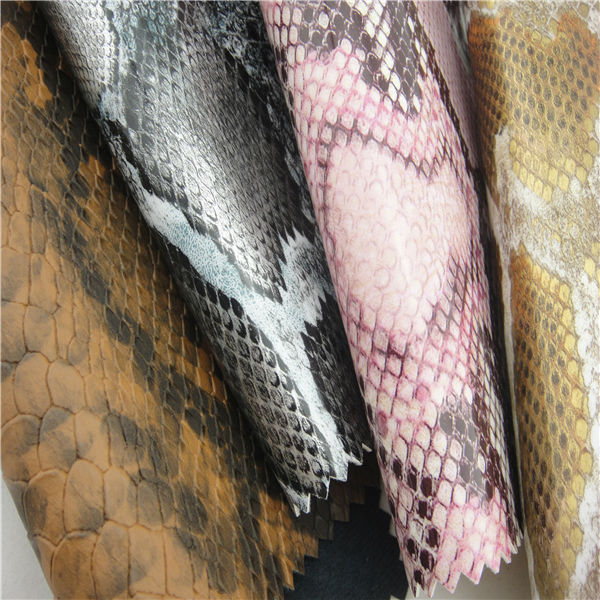 Good quality snake texture leather bag making material