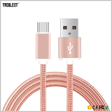 OEM 1m colorful nylon braid micro USB data charging cable for mobile
