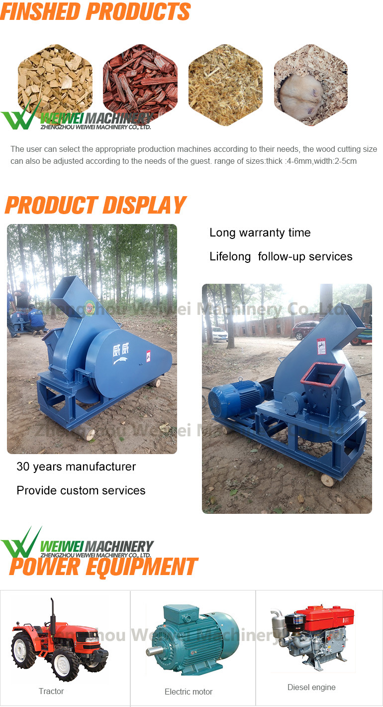Weiwei factory direct sale mini wood chipper machine