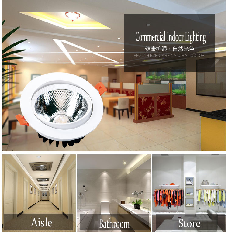 high power recessed cob led lighting downlights 20w home