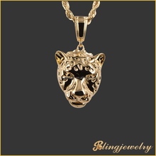 Hot selling animal shaped jewelry 18k gold plated leopard pendant jewelry