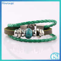 fashion wrap magnetic leather bracelet ,cheap leather bracelet hematite gemstone jewelry HSQ-0431