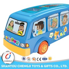 B/O cartoon plastic school toy buses with light and music