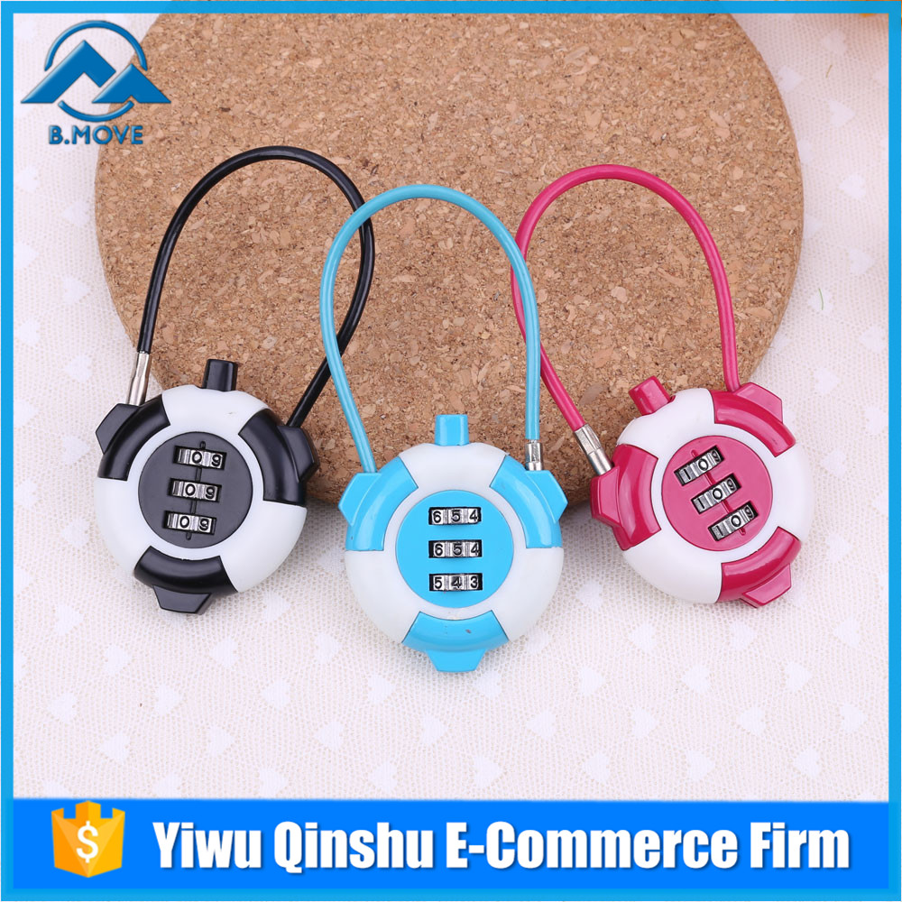 New Arrival Steel Wire Rope code lock top security 3 digits colorful code lock Password Lock
