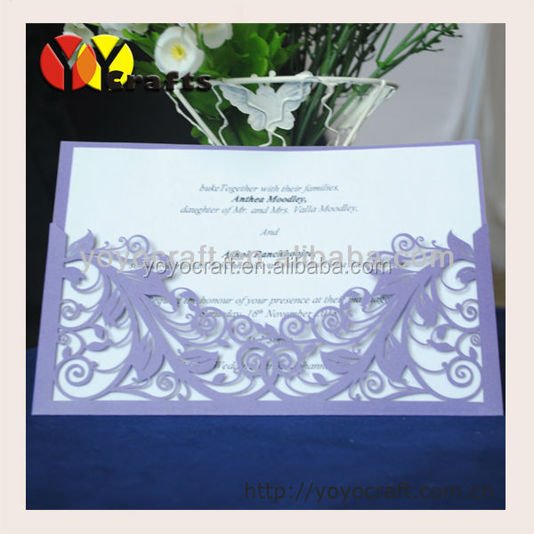 Wholesale laser cut pearl paper official China business meeting invitation with printed or gold foil writing
