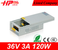 Guangzhou factory CCTV Camera/LED Strips/LCD 120w 36v 3.5a switch power supply with CE ROHS approved