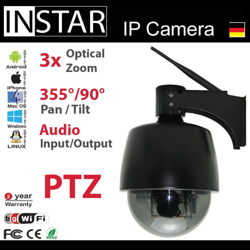 Wirless Outdoor IP Security Camera with Pan & Tilt & 3x Zoom