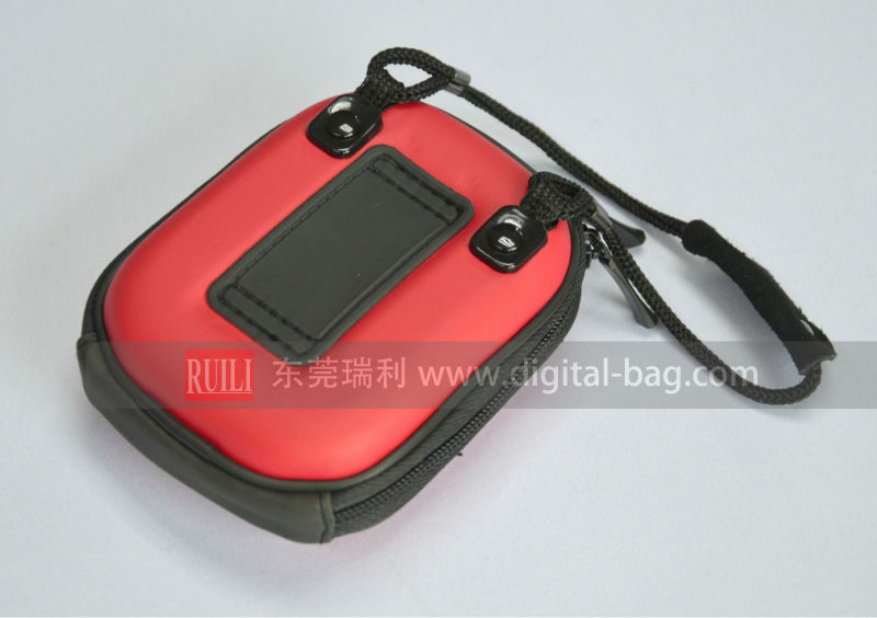 Easy carrying camera bag; Strip camera bag; Red PU + EVA camera bag.