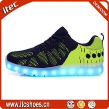2016 New fashion lace up battery operated men sport led light up shoes