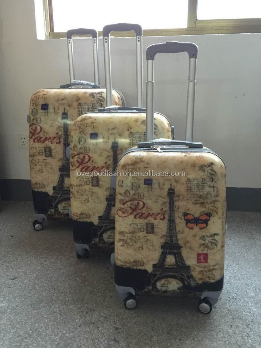 Pairs And Eiffel Tower Printing 3 PCS Luggage Set Best Travel Trolley Luggage