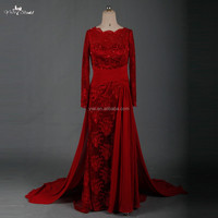 RSE665 Sexu Back Open Keyhole Long Sleeves Wine Red Arabic Patterns Of Lace Evening Dress