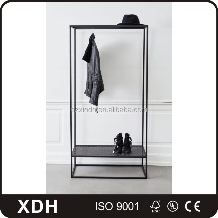 Modern stainless steel clothes hanger stand large clothing display cabinet
