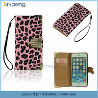 High quality leopard print leather+TPU hand line flower flip cover case for gionee f103