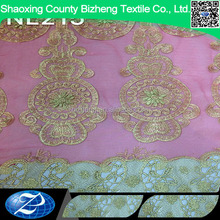 New arrival african pink applique tulle wedding dress lace fabric with cord lace border