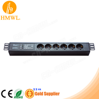 1.5U 6 way Germany PDU Socket with Light Filtering Surge Protection Grounding