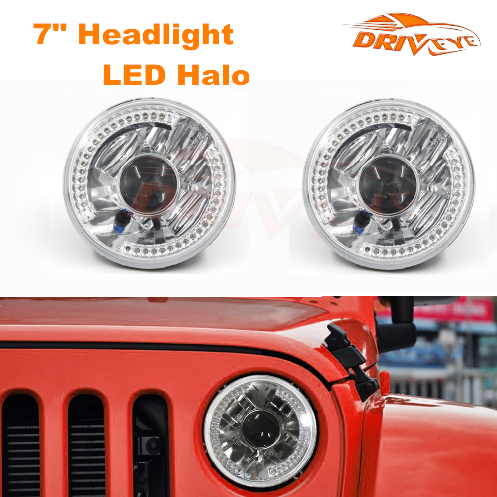"Driveye 7"" Motorcycle LED Projector Headlight 5-3/4"" LED Halo Headlight H4 12V55W 6500K Halogen Head lamp for Harley Davidson"