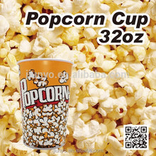 disposable single wall paper popcorn bucket with paper lid