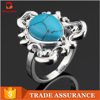 Made in China fashion jewelry handmade big turquoise stone finger ring for women