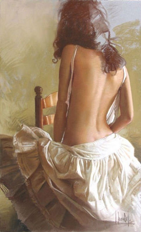 Impressionist high quality nude back sexy lady oil painting