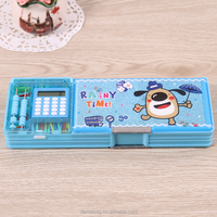 2016 best selling clear plastic pvc creative multifunctional stationery pencil case with magnet h651