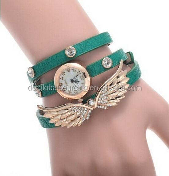 Lady Women's Angel Wings Pendant Rhinestone Vintage Leather Bracelet Quartz Wrist Casual Watch