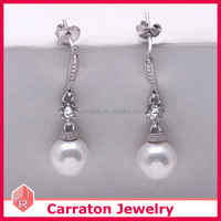 fashion design 925 sterling silver shell pearl drop earrings with butterfly back