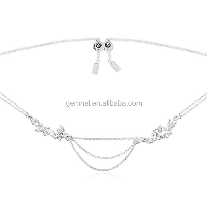 Silver bracelet with a feminie touch pave with zirconia stones length adjustable necklace