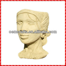 Nice terracotta custom lady head planter garden corn planter