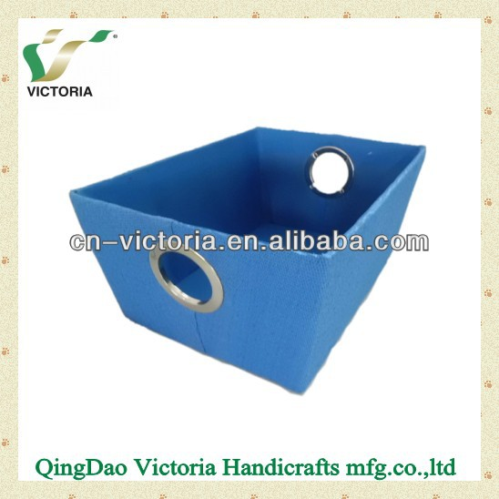 Paper cloth Storage Boxes with round meatl handle