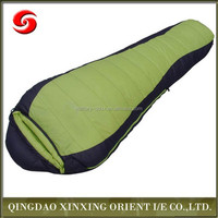 Heated outdoor mummy style warm camping sleeping bag with portable carrying bag